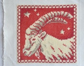 Finished / Completed Cross Stitch - Lanarte - Red Signs of the Zodiac: Capricorn (34969) crossstitch counted cross stitch