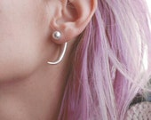 Pearl & spike front and long bar back earrings - two way pearl earrings