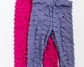 SALE Raspberry and Lavender Set Ruffle Leggings Size 4T, 5 Ready to Ship