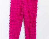 SALE Raspberry/Fuscia Ruffle Leggings Made to Order Sizes 12, 18, 24 months, 2T, 3T, 4T, 5, 6, 6X, 7, 8, 9, 10