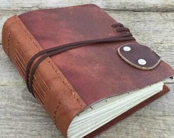 Rustic leather journal. OOAK