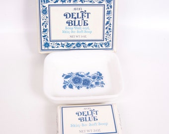 Vintage Delft Blue Soap and Dish Skin So Soft Soap 1972 Avon Collectible Milk Glass New in Box