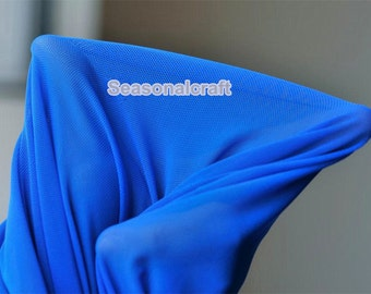 High elastic Nylon Spandax Netting Fabric, High Stretch Blue Netting Nylon Fabric for Under Close-Fitting or See Through One yard (W176)