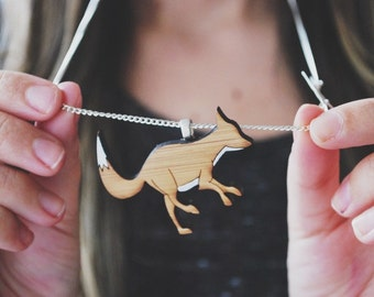 Silver fox necklace - fox - laser cut wooden fox necklace - fox jewelry - animal jewelry