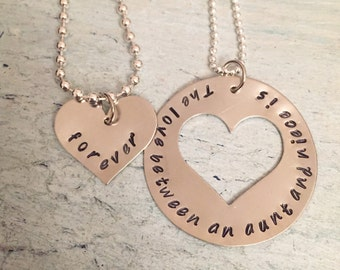 Aunt/Niece Hand Stamped Necklace. The love between an aunt and niece is forever. matching necklace-Personalized- Mother's Day gift-Aunt gift