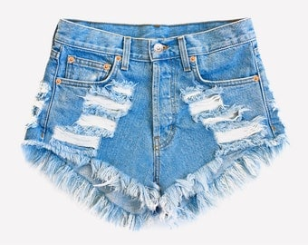 Distressed Boyfriend Denim Cut Off Shorts XXL
