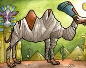 Mummified camel egyptian sphinx giraffe cow - Original ART ACEO Watercolor - Katie Hone