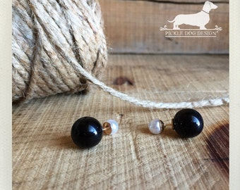Double Sided. Post Earrings -- (Vintage Style, White Pearl, Black, Ebony, White and Black, Reversible, Bridesmaid Jewelry, Gift Under 10)