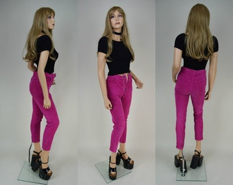 90s Pink Cord High Waist Skinny Jeans Pants XXS