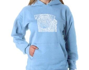 Women's Hooded Sweatshirt - Pug Face Created using the word Pug