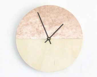 Rose Gold and Wood Clock,  Unique Wall Clock, Home and Living, Home Decor, Decor and Housewares