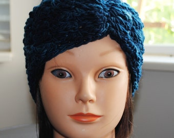 SALE 25% off- midnight blue crochet headband hand dyed merino wool