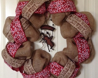 Cowboy Wreath - Burlap Wreath - Rodeo Wreath - Rustic Wreath - Country Western Wreath - Everyday Wreath