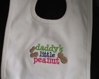 "Baby Bib ""Daddy's Little Peanut"" Embroidered Baby Bib"