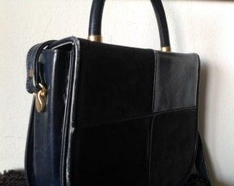 Vintage dark blue crossbody bag, leather and suede shoulder bag,retro bag,Handbag,