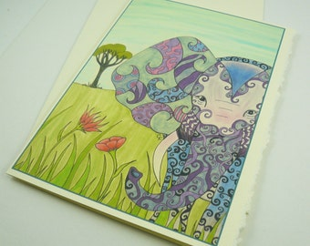 """printed greeting card, colorful elephant design, blank inside, 5""""x7"""" Ivory card with deckle edge, envelope included."""