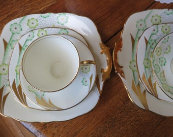 Royal stafford vintage china tea cup trio with matching cake plate