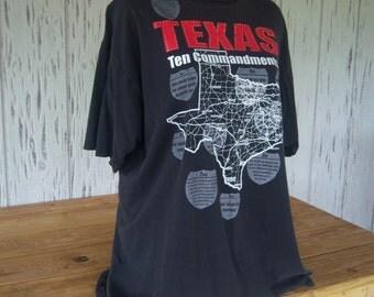 Vintage T-Shirt, TEXAS Ten Commandments, Dallas Texas Religious T-Shirt, Unisex, Adult Size Medium, Circa:  Early 90's