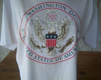 Vintage Unisex Washington D.C. T-Shirt, United States of America, Symbol of Freedom, Adult Size Large, 1990, Made in USA, Souvenir Shirt