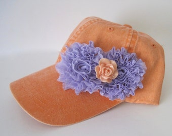 Youth Toddler Peach Baseball Cap with Lavender Chiffon Flowers and a Matching Cabochon Flower Accent