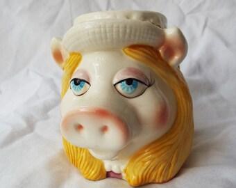 Vintage Miss Piggy Figural Mug Sigma Jim Henson Licensed Cup