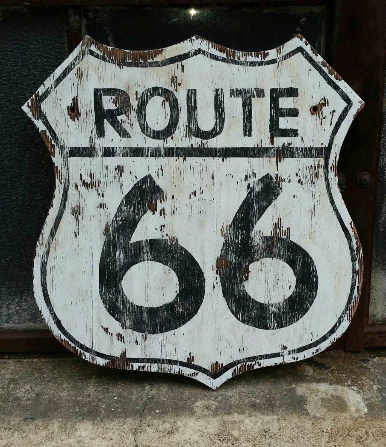 Rustic Route 66 Sign Vintage Style Wall Decor