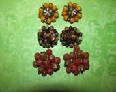 Lot of Vintage Orange Yellow Brown Clip On Cluster Earrings
