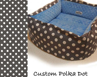 Polka Dot Pet Bed, CUSTOM, Dog Cat, Travel, 12 In Square Small, 32 Color Choice, Slip-proof Base, Couture, Artistic, Collapsible, Washable