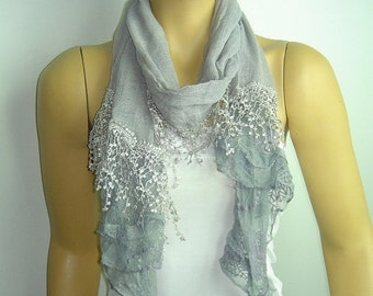 SALE 50% Grey Scarf - Gray cotton scarf  with lace