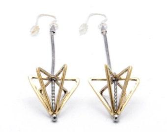 SALE // 30% off // long framed cone earrings - brass
