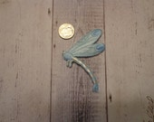 Embroidered Iron-On Applique, Light Blue and Pink Dragonfly