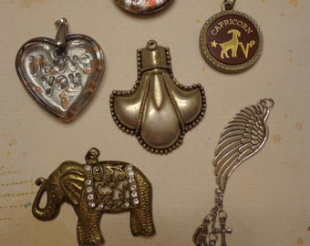 Lot of Vintage-Now Larger Pendants, Glass, Metal, Gold Tone and Silver Tone