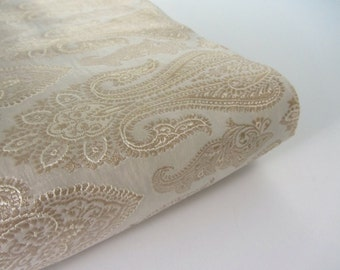 Beige gold traditional Indian design silk brocade fabric number 737  - 1/4 yard | fat quarter