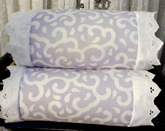 "Vintage 80's pair of lavender print small bolster pillow covers  9"" x 15"""