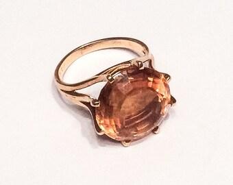 Citrine Ring, 18K Gold, Dress Ring, Mid Century Vintage Jewelry, WINTER SALE