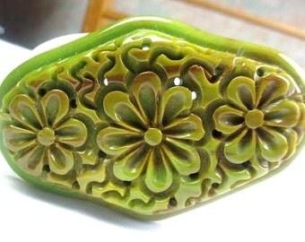 Carved Flower Bakelite Brooch, Green Early Plastic, Art Deco 1930s Vintage Jewelry, SUMMER SALE