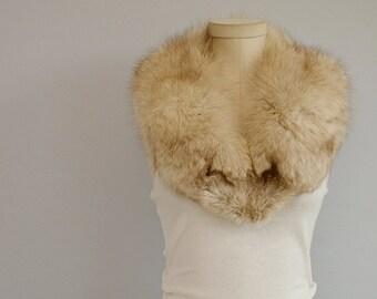 Vintage Fox Fur Collar / 1950s Real Artic Fox Fur Shawl Collar