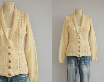 Vintage 50s Wool Cardigan / 1950s Hand Knit Shawl Collar Cream Cable Fisherman Sweater