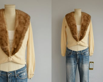 Vintage Cashmere Mink Cardigan / 1950s Beige Cocoa Brown Cashmere Sweater with Real Mink Collar / Hadley Cashmere NOSWT New Old Stock