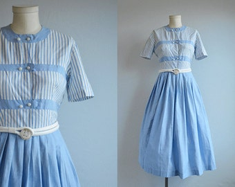 Vintage 50s Dress / 1950s Blue and White Stripe Cotton Day Dress with Full Pleated Skirt