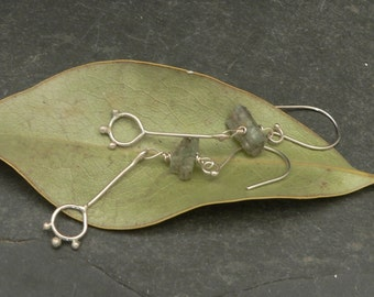 Ancient Flower Granulated Earrings with Green Kyanite