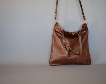 Leather Tote Bag -  MULL - Leather Cross body Rich Walnut Brown shoulder tote bag purse by Holm