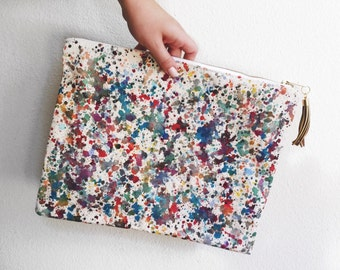 Art Clutch - Hand-Painted - One of a Kind- Painted Zipper Pouch - Artist's Bag - Autumn Multi
