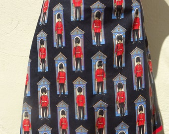 Handmade skirt - novelty fabric - Soldier, soldier! Queen's Guard fabric UK 10-12