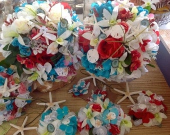 Driftwood and Seashell Beach Wedding Package MIX AND MATCH  with Bridal Bouquet Bridesmaids Corsages and Starfish Boutonnieres  All Custom