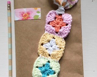 Colorful Cotton Crochet Mini Granny Square Bookmark With Vintage Fabric Strip
