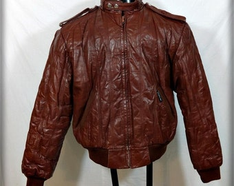 Vtg 80s MEMBERS ONLY Leather Cafe Racer Biker JACKET Mens M Size 40 Brick brown rainbow Tag