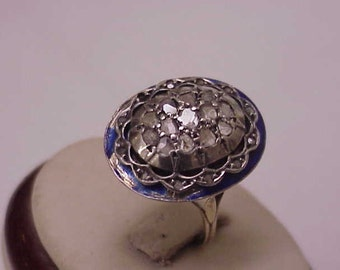 Superb Antique Victorian 2.00ct  Rose Cut Diamond  15k  Gold Blue Enameled  Ring,early 1800s