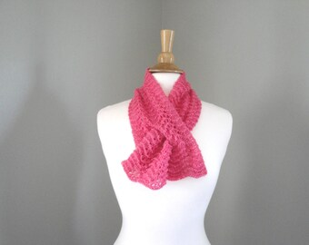 Pink Cashmere Neck Warmer Keyhole Scarf, Pull Through Ascot Scarf, Strawberry Pink