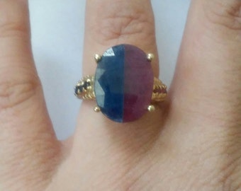 OOAK Vintage Gorgeous Blue Sapphire Ruby 14k Yellow Gold Ring